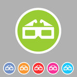 Three-dimencional glasses anaglyph movie icon flat web sign symbol logo label set Stock Images
