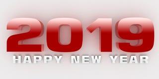 Three-dimensiona de la Feliz Año Nuevo 2019 Ilustración del Vector