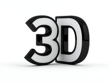 Three dimensional - 3D text - Black outline. 3D text rendered.  on white background Stock Image