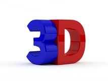 Three dimensional - 3D text - red and blue. 3D text rendered. on white background stock illustration