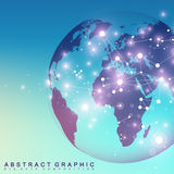 Three-dimensional abstract background planet. Virtual background communication or particle compounds. Global network Royalty Free Stock Photography