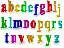 Three-dimensional alpfabet. Three-dimensional alphabet. image with colored three-dimensional characters Royalty Free Stock Image