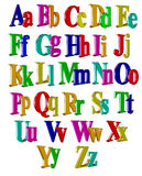Three-dimensional alpfabet. Three-dimensional alphabet. image with colored three-dimensional characters Royalty Free Stock Images