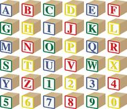 Three-Dimensional Alphabet and Numeric Baby Blocks Royalty Free Stock Photography