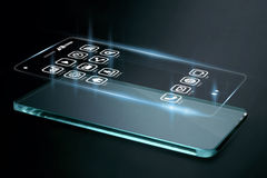 Three dimensional apps on smartphone screen. A 3D phone is a mobile phone that conveys depth perception to the viewer by employing stereoscopy or any other Stock Image