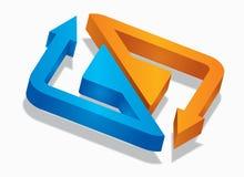 Three-dimensional Arrow Signs Stock Photo