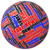 Three-dimensional ball with colored fake news tag word cloud Royalty Free Stock Photography