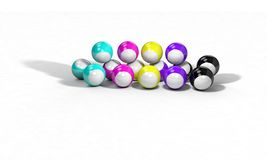 Three-dimensional billiard ball background 3d render Royalty Free Stock Photography
