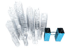 Three dimensional blue print of corporate buildings Stock Photos