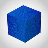Three-dimensional box circuit board stile. Royalty Free Stock Photos