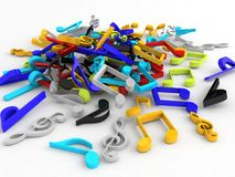Three dimensional bunch of musical notes royalty free illustration