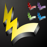 Three Dimensional Checkmark Lightning Bolts Stock Photo