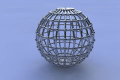 Three dimensional chrome spheres Stock Photo