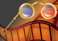 Three-dimensional cinema. Abstract background with 3d glasses stock photo