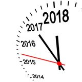 New year 2018 clock. Three dimensional clock showing New Year 2018 at 12 o& x27;clock Stock Illustration
