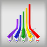 Three-dimensional color rhomboid infographics. Set color infographics stock illustration