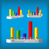 Three-dimensional color rhomboid infographics. Set color infographics Stock Image