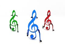 Three dimensional colored musical notes Royalty Free Stock Photography