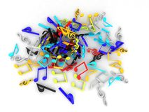 Three dimensional colored musical notes collection Royalty Free Stock Images