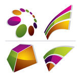Three-dimensional colorful graphical icons set isolated on white Royalty Free Stock Photos