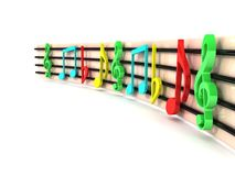 Three dimensional colorful musical clefs Royalty Free Stock Photo