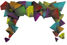 Three dimensional colorful triangles. Three dimensional colofrul triangles. Simple linear gradients used on color parts. Lines are separate from background stock illustration