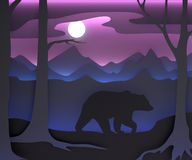 Three-dimensional composition with a bear and the moon. stock illustration