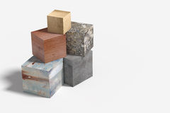 Three-dimensional cube made of different material Stock Image