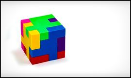 Three Dimensional Cube Puzzle on White Background royalty free stock photography