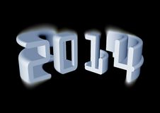 Three dimensional 2014. 2014 - 3d render with black background Stock Image