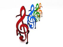 Three Dimensional Dancing Musical Notes In Row Royalty Free Stock Photo