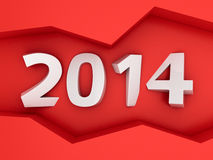 2014 on the red wall Royalty Free Stock Photos