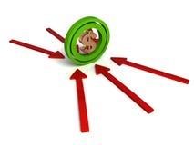 Three dimensional dollar sign on arrows Stock Photo