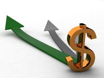 Three Dimensional Dollar Sign With Arrows Royalty Free Stock Photos