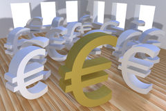 Three dimensional euro currency Stock Photography