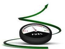 Three dimensional fuel meter with green arrow Stock Photography
