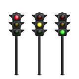 Three-dimensional full length traffic lights on Stock Photo