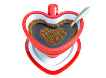 Three-dimensional generate red heart coffee cup. Stock Photo