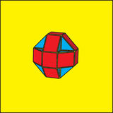 The three-dimensional geometric figure is a ball. Volumetric geometric figure of a ball isolated in yellow background Royalty Free Stock Images