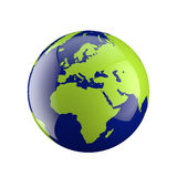 Three dimensional globe with Europe and Africa Royalty Free Stock Images