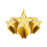 Three dimensional golden stars isolated Royalty Free Stock Image