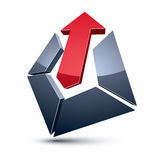 Three-dimensional graphic element with simple arrow Royalty Free Stock Photos