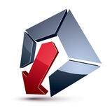 Three-dimensional graphic element with simple arrow  Royalty Free Stock Image