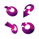 Three-dimensional graphic elements collection with arrows aiming. At target, business development and technology innovation theme vector icons. Company growth stock illustration