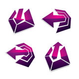 Three-dimensional graphic elements collection with arrows, busin. Ess development and technology innovation theme vector icons. Company growth concept, set of 3d vector illustration