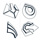 Three-dimensional graphic elements collection with simple arrows Royalty Free Stock Images