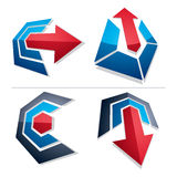 Three-dimensional graphic elements collection with simple arrows Royalty Free Stock Photography