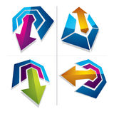 Three-dimensional graphic elements collection with simple arrows. Business development and technology innovation theme vector icons. Company growth concept Stock Images