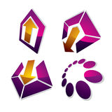 Three-dimensional graphic elements collection with simple arrows. Business development and technology innovation theme vector icons. Company growth concept vector illustration
