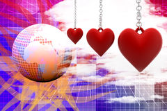 Three dimensional hanging hearts Royalty Free Stock Image